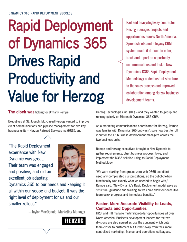 New Dynamic's D365 Rapid Deployment Methodology added instant functionality and structure to the sales process for rail/highway contractor Herzog and improved collaboration among business development teams.