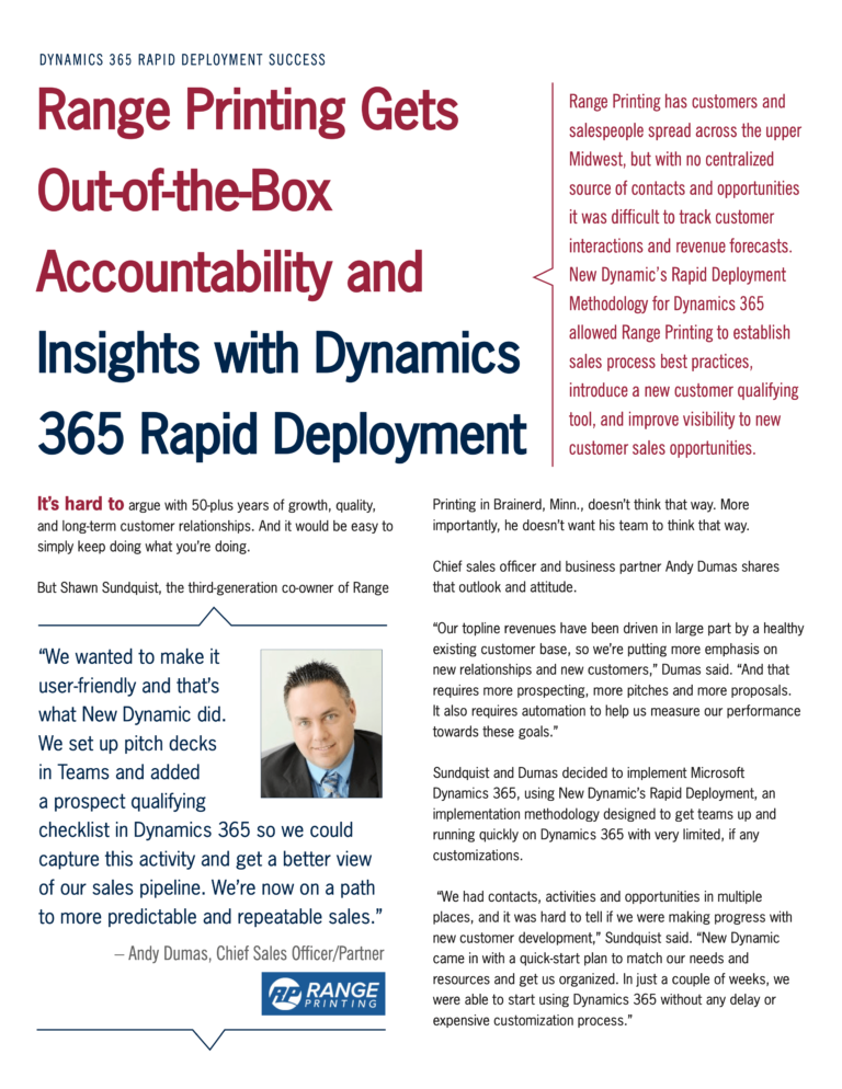 Range Printing Gets Out-of-the-Box Accountability and Insights with Dynamics 365 Rapid Deployment